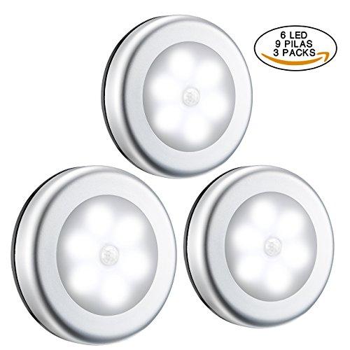 6 LED Luz Armario Pilas, VICTSING 3 Luces del Sensor de Movimiento Fija a Cualquier Lugar, Perfecto para Sótano, Estudio, Garaje, Trastero, Armario Etc. (Lleva 9 Pilas, Blanca)