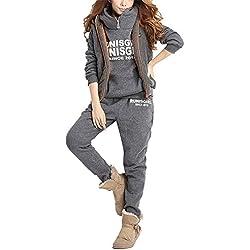 BYD Femmes Survêtement Suit Chaud Manches Longues Pull à Capuche + Gilet + Pantalon 3Pcs Lettres Impression Veste Jogging Sportswear Outwear,Gris,Small