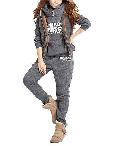 Angelwing Damen 3 in 1 Sportanzug Jogginganzug Trainingsanzug Kapuzenjacke Sweatshirt Hoodie Kapuzenpullover + Weste + Hose