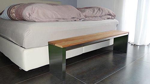Sitzbank für Wohnraum BxTxH: 150x30x40cm, Edelstahl (Gartenbank, Bank mit Echt-Holz, Gartenmöbel, Holzbank, Parkbank) (Marke: Szagato)