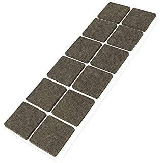 Adsamm® | 12 x Felt Pads | 1.38'' x 1.38'' (35x35 mm) | Brown | Square | self-Adhesive Furniture Glides with Felt Thickness of 0.138''/3.5 mm in top-Quality by Adsamm®