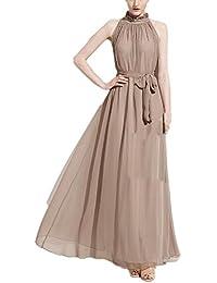 8755c9b9b35f Donna Vestiti Lunghi Eleganti Da Cerimonia Estivi Chiffon Delle Abito Da  Damigella Puro Colore A Pieghe Vestito Con…