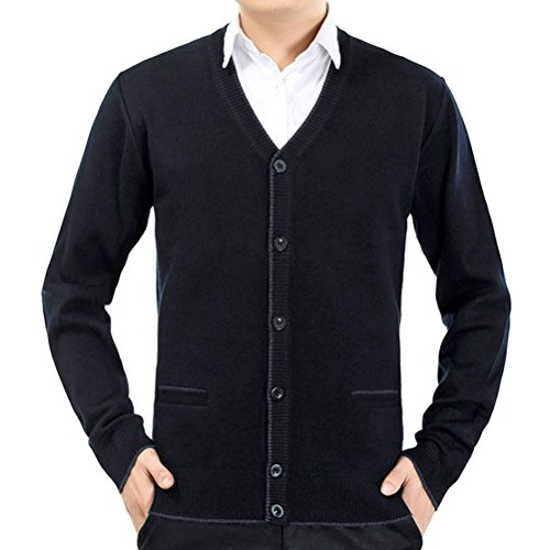 Zhhlinyuan Herren Pullover Mens Men's Father Casual British Style Solid Color Stretch Comfortable Shrink-proof Long Sleeve V Neck Knit Knitted Cardigan Sweatshirt Sweater (Pullover Cardigan Style Golf)