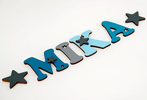 Holzbuchstaben in toller Farbkombination für die Kinderzimmertür. Einzigartige Kinderzimmerdekoration. Handbemaltes Unikat. Als Wunschname individualisierbar / Inklusive 2 Sternmotiven in passenden Farben. Perfekt als Geburtsgeschenk oder Taufgeschenk.