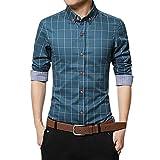 MRULIC Oktoberfest Herren Langarmshirt Kariert Shirt Button-Down Hübsches T-Shirt(Blau,EU-46/CN-L)