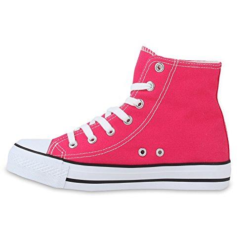 Damen Sneakers High Freizeit Turnschuhe Pink