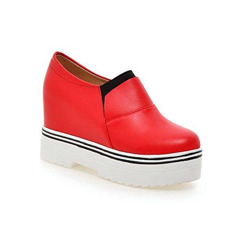 AllhqFashion Femme Pu Cuir Couleur Unie Tire Rond à Talon Haut Chaussures Légeres Rouge
