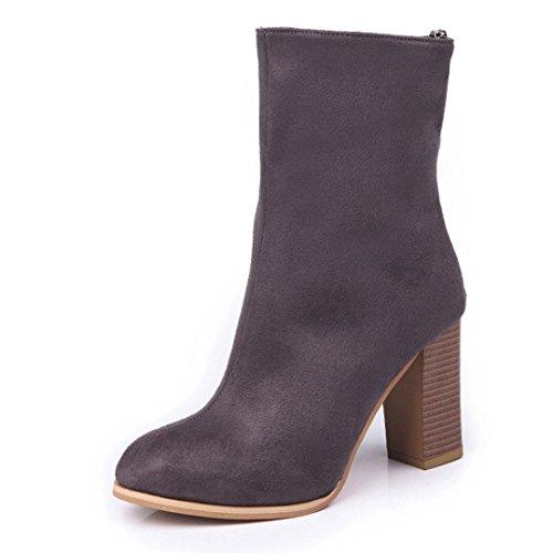 Coloré Femme Boots Chaussures Classiques Chaudes Botte (TM) Bottes Martin à ressorts avec velcro et bottes à talons hauts Gris