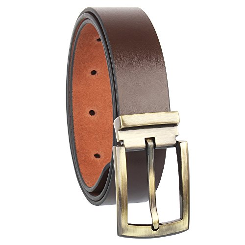 Alfami Mens Genuine Leather Belt, Brown Colour, Antique Golden Buckle, All Sizes, Timber Pattern, Size 28