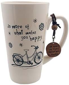 Noi Home A-NL MUG 166 Natural Life Grande tasse à café en céramique avec pendentif Motif proverbe en anglais et vélo imprimé en noir Crème