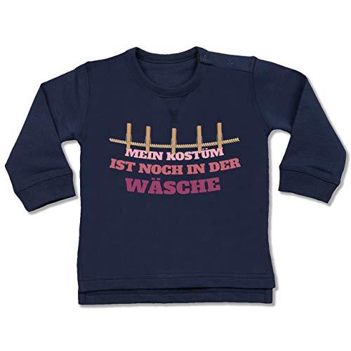 Shirtracer Karneval und Fasching Baby - Mein Kostüm ist noch in der Wäsche Wäscheleine rot - 6-12 Monate - Navy Blau - BZ31 - Baby Pullover