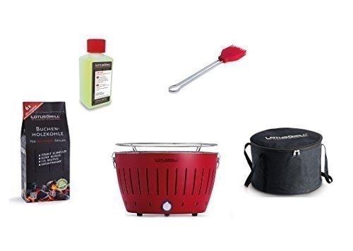 LotusGrill Kit de Démarrage 1x LotusGrill Rouge feu 1x Charbon de bois de hêtre 1kg,1x Pâte brûlante 200ml,1x Pinceau à marinade Rouge Feu,1x sac de Transport le barbecue à charbon de bois sans fumée/