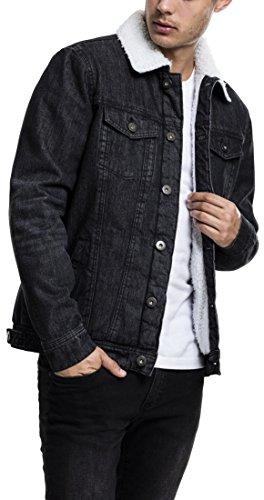 Urban classics sherpa denim jacket giacca, schwarz (black washed 709), small uomo
