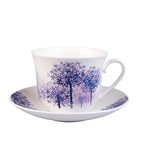 Roy Kirkham & Co Alliums Chatsworth Breakfast Cup and Saucer, Purple