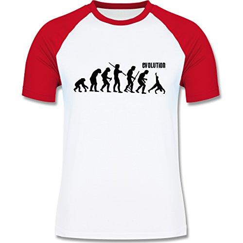 Evolution - Turnen Evolution - zweifarbiges Baseballshirt für Männer Weiß/Rot
