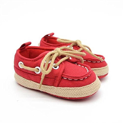 Chaussures de bébé,Transer ® Bébé fille garçon 0 ~ 18 mois doux Denim semelle Sneaker Toddler chaussures Rouge
