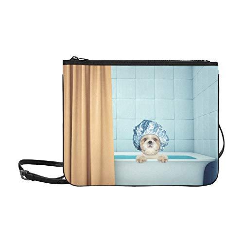 WYYWCY Niedliche Wet Shitzu Hund Katze Bad Benutzerdefinierte hochwertige Nylon Slim Clutch Crossbody Tasche Umhängetasche -