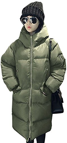Laruise Damen Mid Long Hooded Wei? Entendaunen Leichte Daunenjacken Large Green