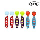 CDKJ 6pcs cucchiai del bambino del bambino e forchette da tavola Set di bambini alimentazione casa Educazione cucchiaio forchetta posate BPA