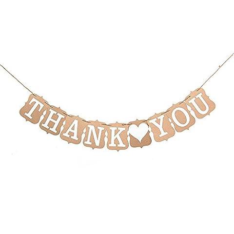 Lanlan Foto Prop Papier Girlande Party Dekoration Thank You Vintage Wedding Wimpelkette Banner