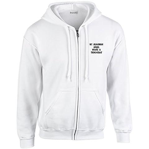 Myn Guardian Angel Wears A Trenchcoat, Heavy Blend™ Full Zip Hooded Sweatshirt - White/Black 5XL