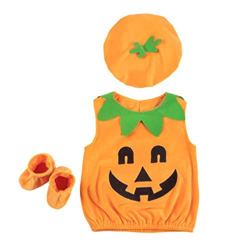 Kürbiskuchen Kostüm - TENDYCOCO 1 Set Kinder Kürbis Kostüm mit Kürbishut Socken Outfit Halloween Kaneval Party Kostüm Zubehör für Kinder in der Größe von 100cm