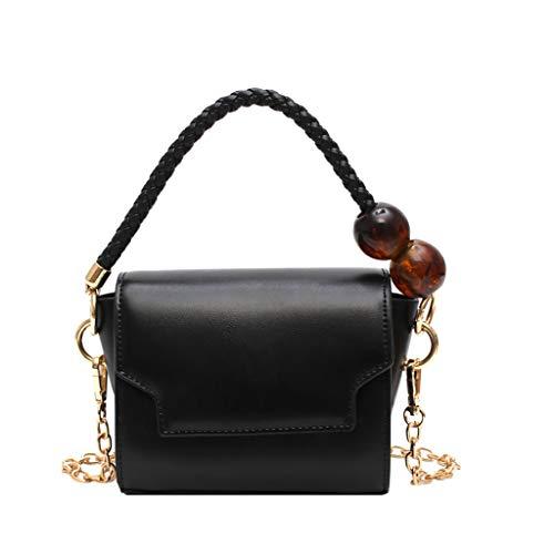 TIFIY Damen Rucksack Damenmode Friesen Pure-Color Cover Retro Umhängetasche Flap Bag Arbeits Täglich Bankett Elegant Tasche(Schwarz) -