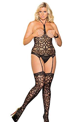 Shirley of Hollywood Nummer x90371String und Strümpfe Set One Größe Plus open-bust Netztop mit verstellbarem Strumpfhalter (Hollywood-damen Shirley Strumpfhalter)
