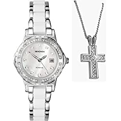 Sekonda Moonlight Pearl White Dial White Enamel Inlayed Stainless Steel Bracelet Ladies Watch 4674 + Free Pendant Gift