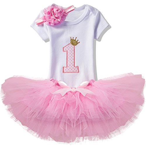 NNJXD Mädchen Newborn 1. Geburtstag 3 Stück Outfits Strampler + Tutu Kleid + Stirnband Größe (1) 1 Jahr Rosa (Suchen Mädchen Kleider Kleine)