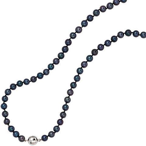 Collana di perle coltivate Akoya 5,5-6 millimetri argento 925 scuro