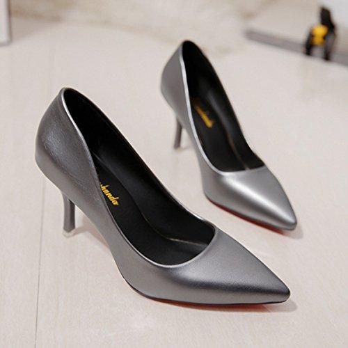 Damen Pumps Spitz Zehen Stilettos Atmungsaktiv Slip On Europäischen Stil Beständige Eibfache Schuhe Dunkelgrau