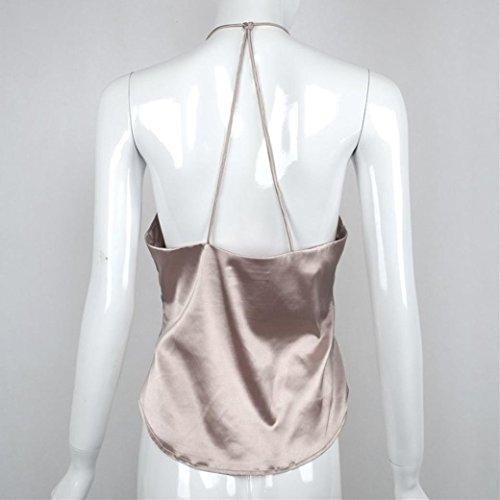 OverDose Frauen Tops V-Ausschnitt Backless Bandage Damen Weste Hemd Tops Pulli Khaki