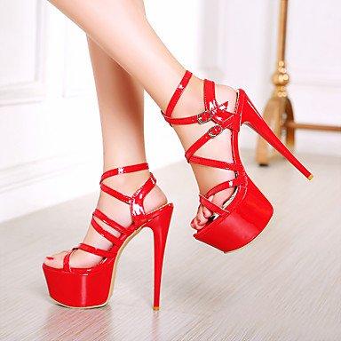 LFNLYX Donna Sandali Comfort estivo cinturino alla caviglia in pelle di brevetto party di nozze & abito da sera Stiletto Heel fibbia Nero Bianco Rosso a piedi Red