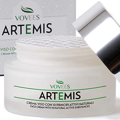 crema viso antirughe vovees artemis idratante bio con acido ialuronico puro per giorno e notte, 50ml