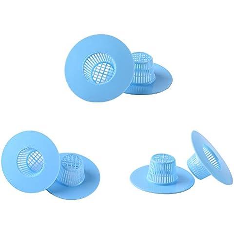 Blulu Vasca in Plastica da Cucina Tappo di Lavello Colino Filtro Scarico Netto Capelli, Blu, 6 Pezzi