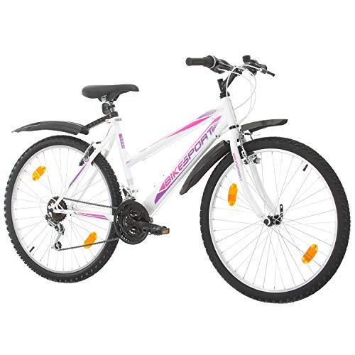 26 Zoll Bikesport ADVENTURE Mädchenfahrrad Damen Fahrrad Mountainbike, Shimano 18 Gang (Weiß Rosa)