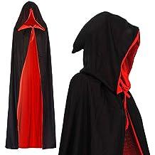 schwarz-rot Kapuzencape mit Spitze edler Vampirumhang Damen