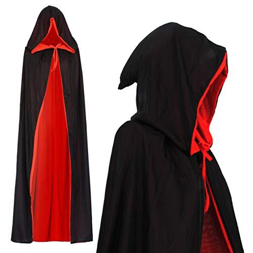 Vampir Umhang Wendeumhang mit Kapuze Vampire schwarz rot Cape für Kind oder Erwachsene Halloween Kostüm Theater Dracula Mantel Kapuzenumhang (130cm)