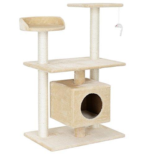[en.casa] Katzen Kratzbaum (ca. 60 x 40 x 95 cm)(creme) Kuschelhöhlen / Aussichtsplatformen / Sisal / mit vielen Spiel - und Kuschelmöglichkeiten