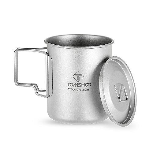 TOMSHOO Titanium Topf 450 ml Tasse Titan mit Deckel für Camping Wandern Picknick (Campingkocher Titanium)