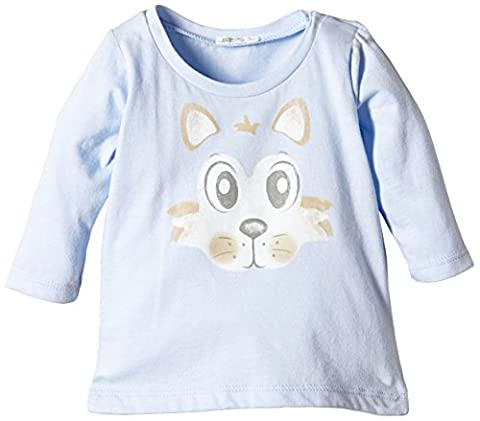 United Colors of Benetton Animal Face Tee - Polo - Bébé fille - Bleu (pale Blue) - 6 mois (Taille fabricant: 3-6 Months)