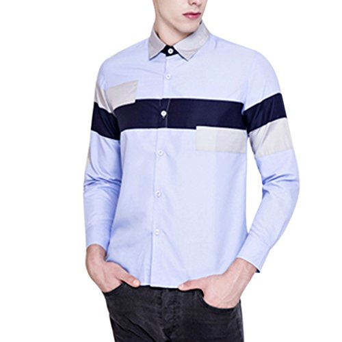 Honghu Homme Casual Slim Fit Manches Longues Frange Chemise Bleu ciel