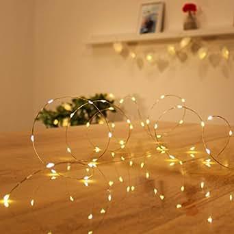 Micro LED lichterkette warmweiß Draht-Lichterkette Leuchtdraht mit mini Tropfen auf Silberdraht Weihnachtsbeleuchtung (40er LED 2m Batterie)