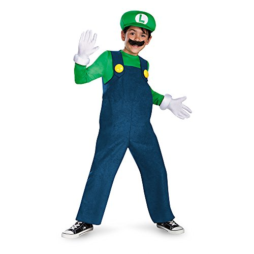 (Nintendo 67822L Luigi Kinder-Kostüm Deluxe S (4-6 J.), blau, 109-126cm)