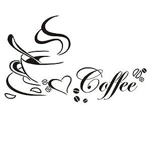 Outflower Adesivo Murale Tazza di caffè Gioioso Decorazione Amare Bianco Nero Atmosfera Festosa Adesivi