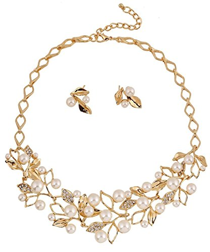 Shining Diva Fashion 18k Gold Plated Pearl Necklace Jewellery Set with Fancy Party Wear Earrings for Girls and Women