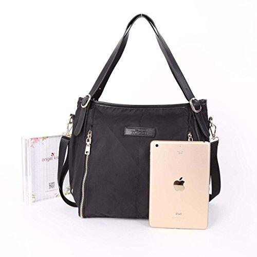 ZOCAI Sized Borse a tracolla in nylon tessuto Medio Borsa a tracolla delle donne Handbags K15668 Nero