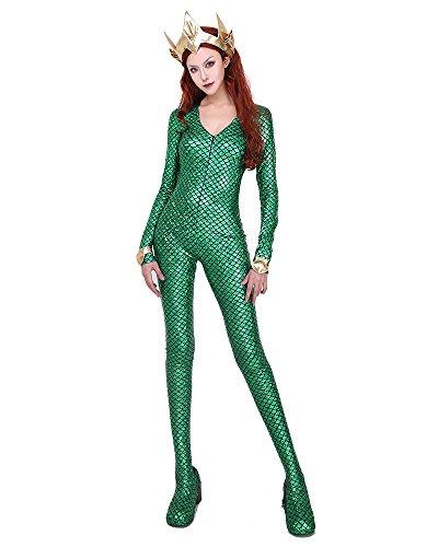 Cosplay.fm Damen Queen Mera Cosplay Kostüm Grün Meerjungfrau-Bodysuit (Sexy Kostüm Zum Verkauf)