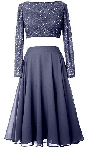 MACloth Elegant 2 Piece Long Sleeve Cocktail Dress Short Lace Prom Formal Gown (Custom Size, Steel Blue) (Tops Boot Beaded)